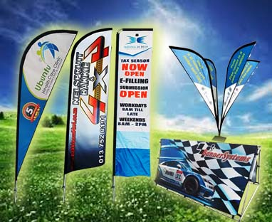 We print and manufacture banner systems such as teardrop banners, feather banners, Teardrop banners and all other flag and banner types.